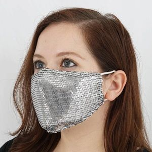 🦋 Sequined face mask with case-black